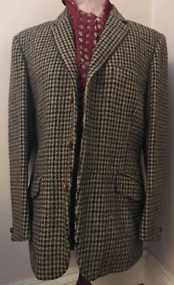 Vintage Brown Black Harris Tweed Blazer Pure Wool Heavy Jacket Traditional 42""