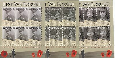 BIOT - 90 Years of Remembrance - 6 different miniature sheets of 6 stamps - MNH