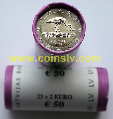 """Rolle 25 X 2 euro Lettland 2015 """"Storch""""  Sichtrolle / 2€ roll Latvia 2015 Stork"""
