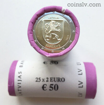 SOFORT! AVAILABLE! Rolle 2 Euro x 25 Lettland 2017 : KURZEME - Kurland / roll 2€