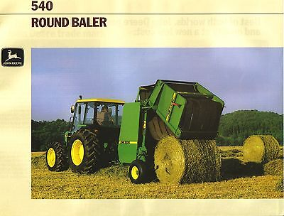 John Deere 540 Round Baler Brochure. Mint Condition.
