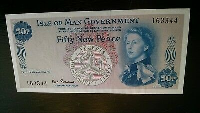 Isle of Man Government. Pick # 27. ND ( 1969 ). 50 New Pence.GEM PERFECT 163344
