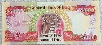 1 x Authentic IRAQI 25,000 DINARS in CRISP MINT condition, Free shipping