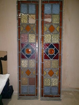 Reclaimed pair of stained glass door panels 1000mm x 212mm