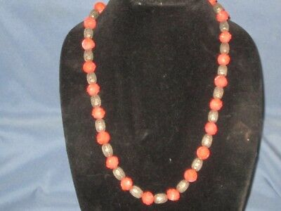 Vintage Silver-Tone Metal Carved Orange Glass Flower Bead On Chain Necklace