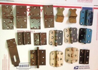 Vintage Lot of Hinges Rustic Art  Mixed Door Cabinet Hardware As-Is