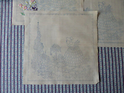 Three Small Pretty Vintage CRINOLINE LADY Mats To Embroider Picture Panel