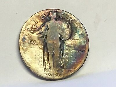 1924 P Quarter Standing Liberty Toned Toner Coin