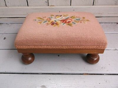 Antique Style Vintage Floral Motif Needlepoint Decorator Footstool