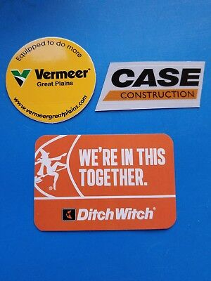 DITCH WITCH VERMEER CASE Construction  Union Equipment Hardhat Stickers