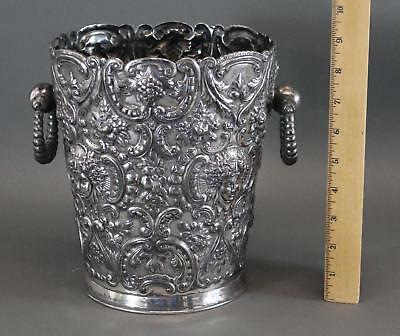 Antique Gothic Hand Chased Reposse Silverplate Champagne Ice Bucket
