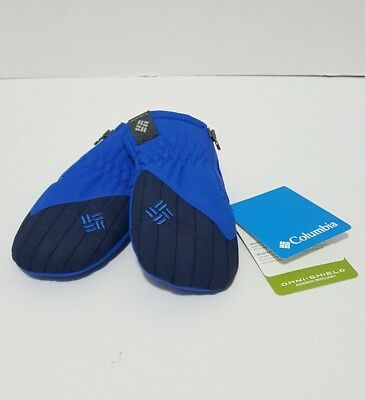 NEW Columbia Omni Shield Insulated Infant Mittens One Size  Zipper  Blue & Black