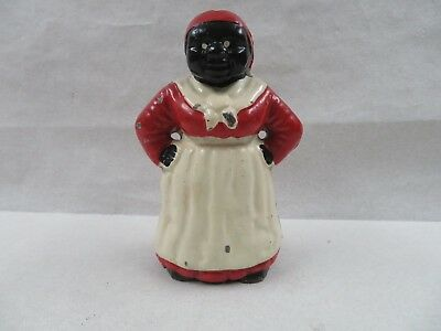 """Vintage Aunt Jemima 7-3/4"""" inch Tall Black Americana Cast Iron Coin Bank Mammy"""