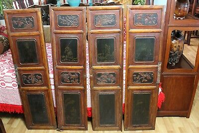 4 Antique Chinese Cabinet Door Panels with Carvings, Wall Hanging Decor?
