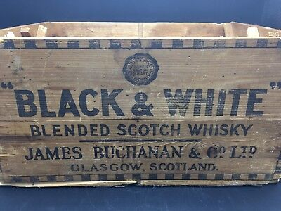 Vintage 1951 Black And White Brand  Scotch Whiskey wood Crate. Bar, Man Cave,