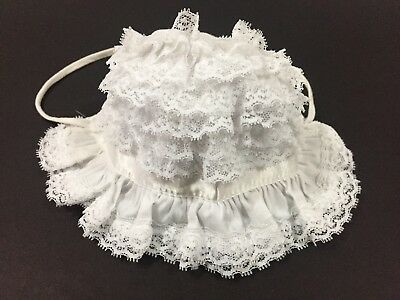 Vintage Handmade Newborn Baby Girl Bonnet Pure White Layers of Lace