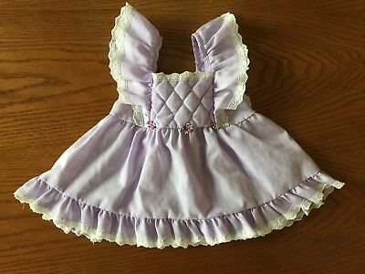 Vtg Evy California Baby Girl's Pinafore Dress Quilted Purple Lace Trim 6 Month