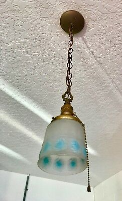 Antique vintage hanging ceiling light fixture lamp pendant art glass shade
