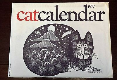 Vintage Original 1977 Cat Calendar Kliban w/Envelope Black White Red