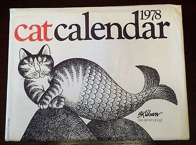 Vintage Original 1978 Cat Calendar Kliban w/Envelope Black White Red