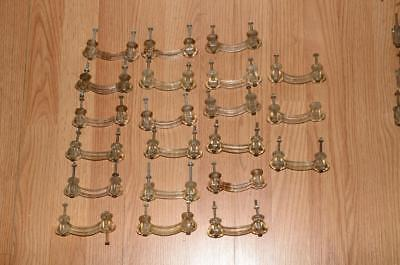 Antique Lot Of 21 Matching Clear Glass Drawers Dresser Cabinet Pulls Handles