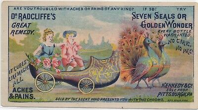 Fantasy Peacocks Pull Wagon Dr Radcliffe's Remedy Quack Med Trade Card c1883