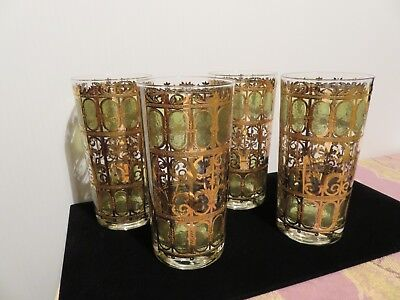Set of 4 Culver Signed Green & 22K Gold SCROLL Highball Tumblers Glasses