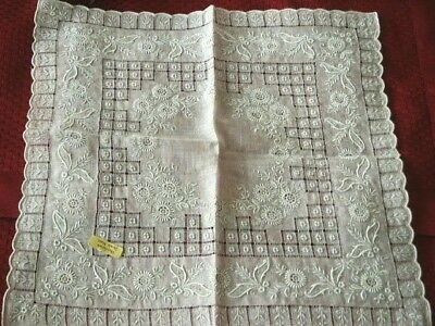Vintage Brode Main Swiss Appenzell Bridal Handkerchief Hanky Grey Embroidery