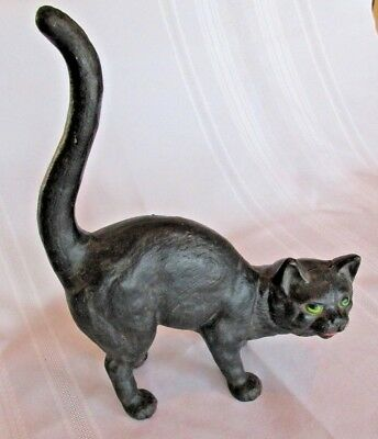 Vintage Hubley Cast Iron Arched Black Cat with Green Eyes Door Stop