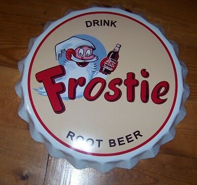 """Large Vintage Style Soda Bottle Cap Apx 24"""" Frostie Root Beer from Orginial Mold"""