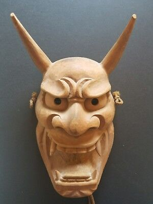 "Wooden Japanese Noh Mask ""Ja"" (蛇)(simlar to Hannya) (wood carving / woodcarving)"