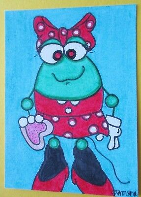 FROG MINNIE MOUSE ABSTRACT ORIGINAL OoAK 2013 ACEO ART  TRADING CARD ATC