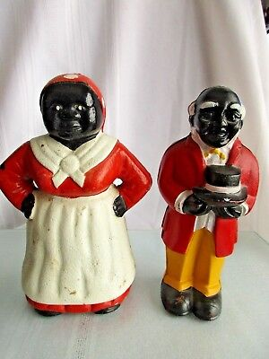 """Vintage Black Americana Aunt Jemima Mammy & Uncle Moses 8"""" Cast Iron Coin Banks"""