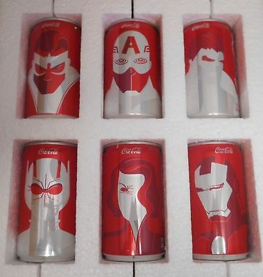 Mini Marvel Avengers Coca Cola 6 Pack Set Super Bowl Promo Limited Edition EMPTY