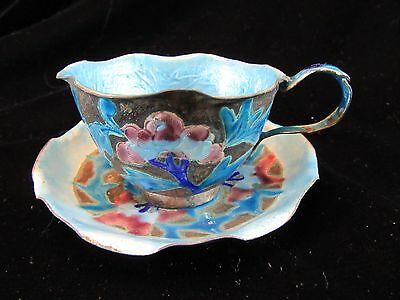 Vintage Chinese Export Guilloche Enamel Copper Blue Demitasse Tea Cup and Saucer