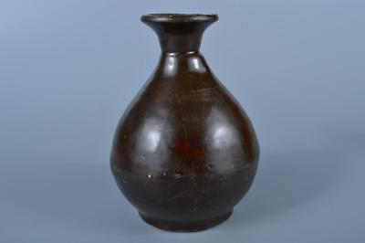 K1083: Korean Goryeo Black glaze SAKE BOTTLE Tokkuri Tea Ceremony