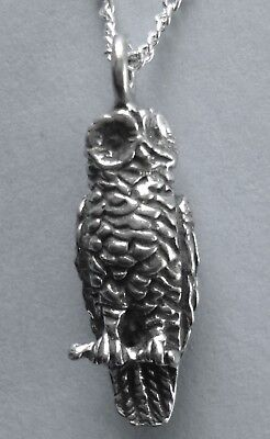 Chain Necklace #235 Pewter WISE OWL (22mm x 18mm) Silver Tone Bird Animal Series