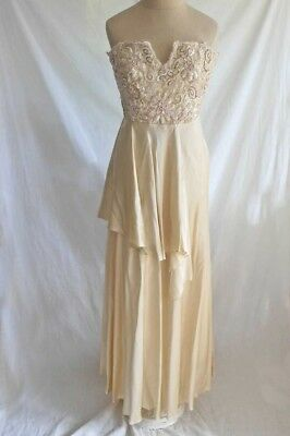 Rose Marie Roussel Bridal Gown Vintage Beaded Bustier Satin Rippling Couture