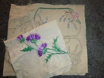 2 Vintage Linen Doily sets to complete - Embroidery, Fautleys, floral, cheval