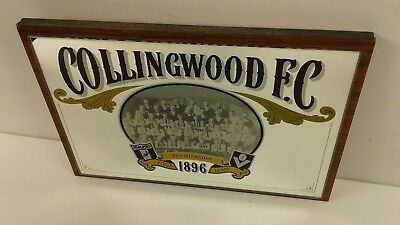 Vintage Collingwood Magpies VFL football club block mounted mirror/glass sign
