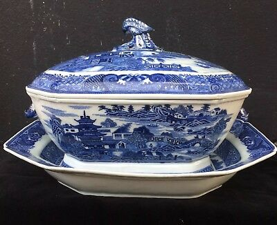 Antique Chinese Blue and White Tureen and Tray, Large