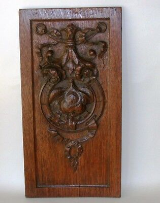Beautiful Antique Carved Oak Wooden Panel