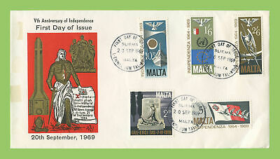 Malta 1969 5th Anniversary of Independence (Scroll)  First Day Cover, Sliema
