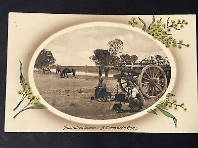 Vintage Real Photo Postcard AUSTRALIAN SCENES A TEAMSTER'S CAMP Valentines
