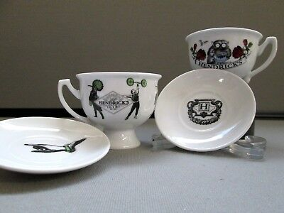 2 Hendrick's Gin Teacups & Saucers - Oscar Wilde & the Iconic Weight Lifter