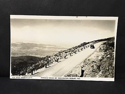 Vintage Real Photo Postcard PINNACLE ROAD, MT WELLINGTON HOBART Tas, Rose Series