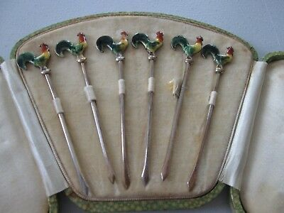 """SET  Antique  STERLING & ENAMELED ROOSTER - COCKTAIL HORS D""""OEUVRES PICKS w/box"""
