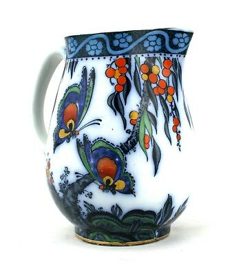 Early 20th C. Butterfly Jug Blue & White Papillon Losol Ware Hand Painted