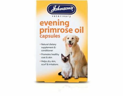 Johnsons EVENING PRIMROSE OIL CAPSULES Dog Cat Herbal Supplement Health Protects