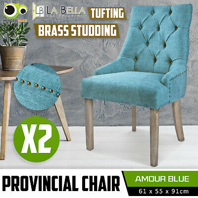 2 x Dining Chair French Provincial Brass Studded Fabric Oak Legs Cafe AMOUR - BU